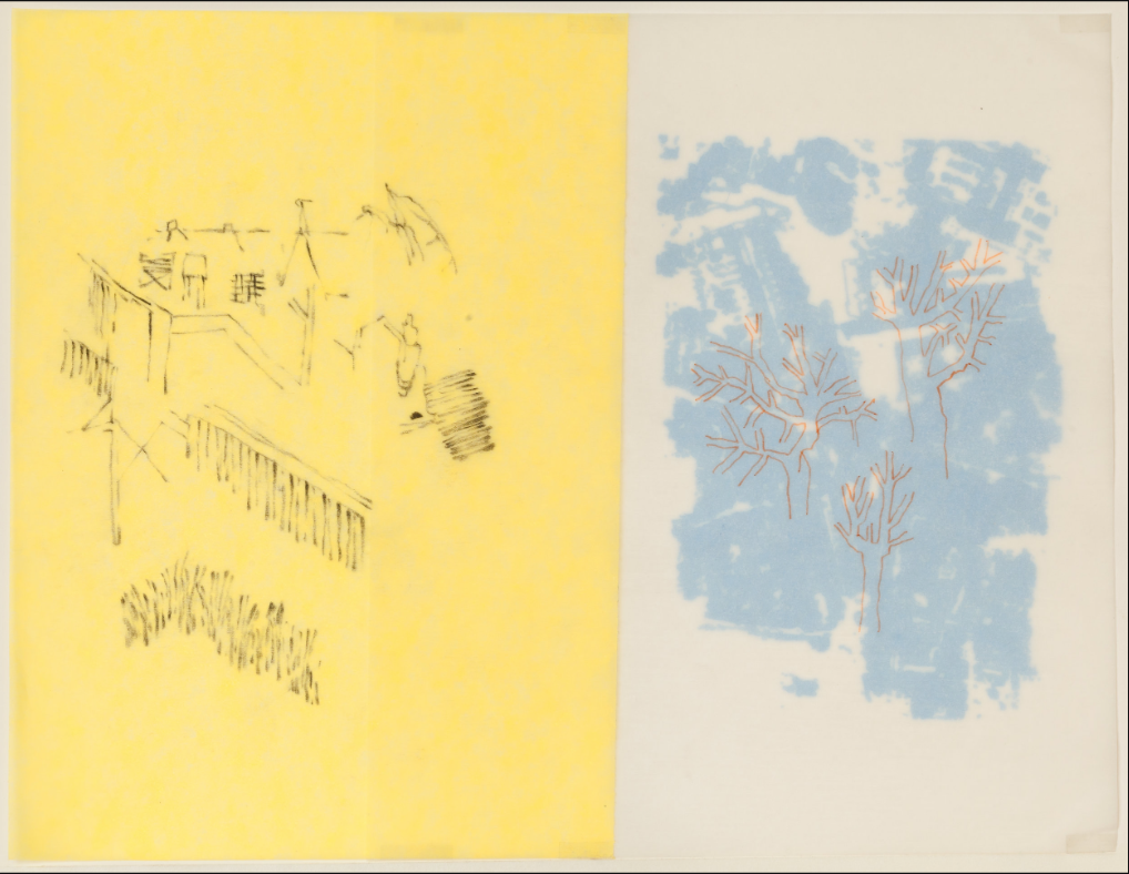 """""""Très Riches Heures- April/January""""  2015  Charcoal on Yellow tracing paper, digital print on vellum and Indian ink on silk paper  Dimension: 8""""1/4 x 10""""1/2 / 21 x 27 cm"""