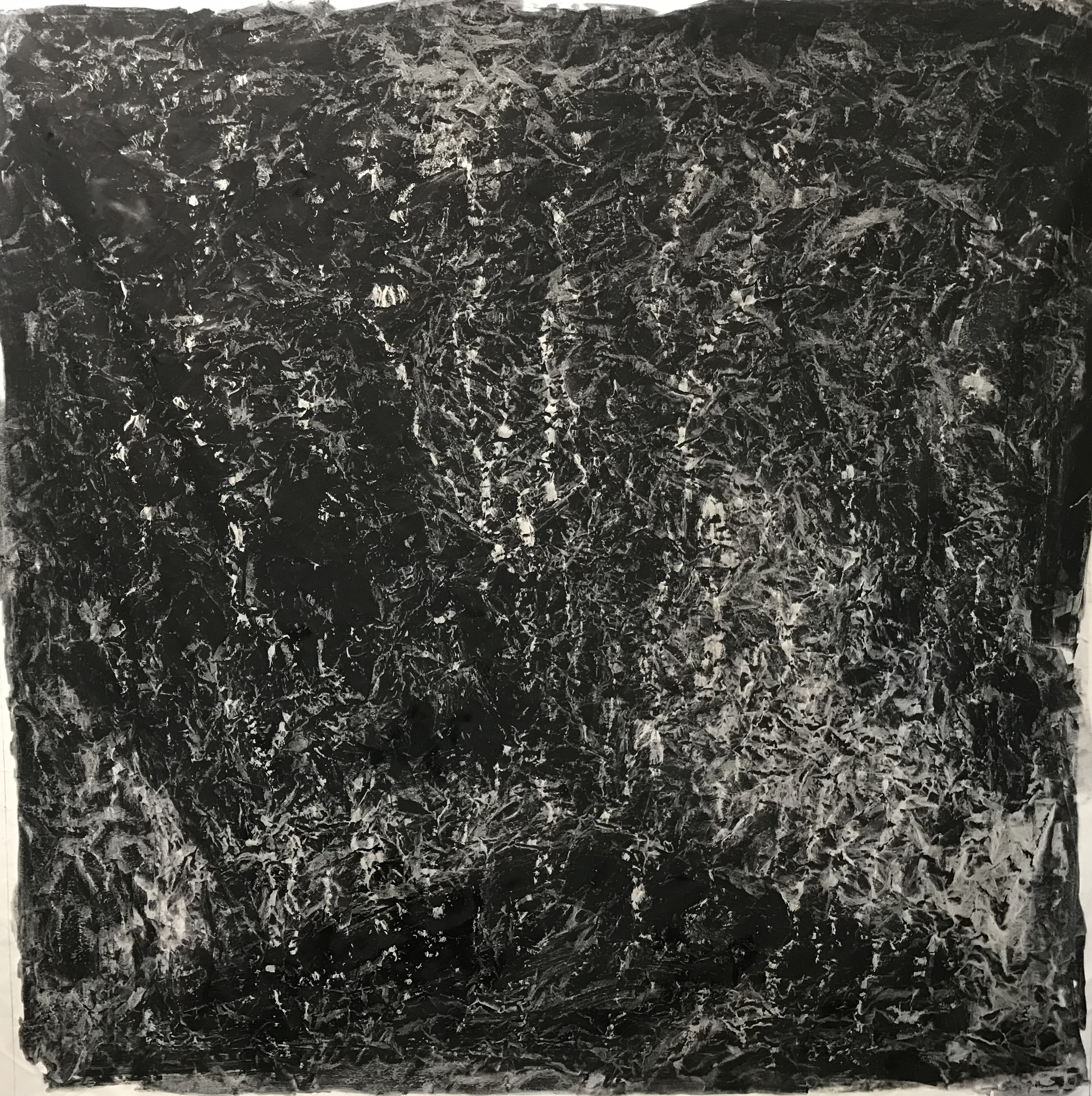 2018 Storm #1406  pigment, oil, alkyd on canvas (Iron oxyde Black bluish-Ivory Black) 72 x 72 inches 182.88 x 182.88 cm © Vicky Colombet, all rights reserved.