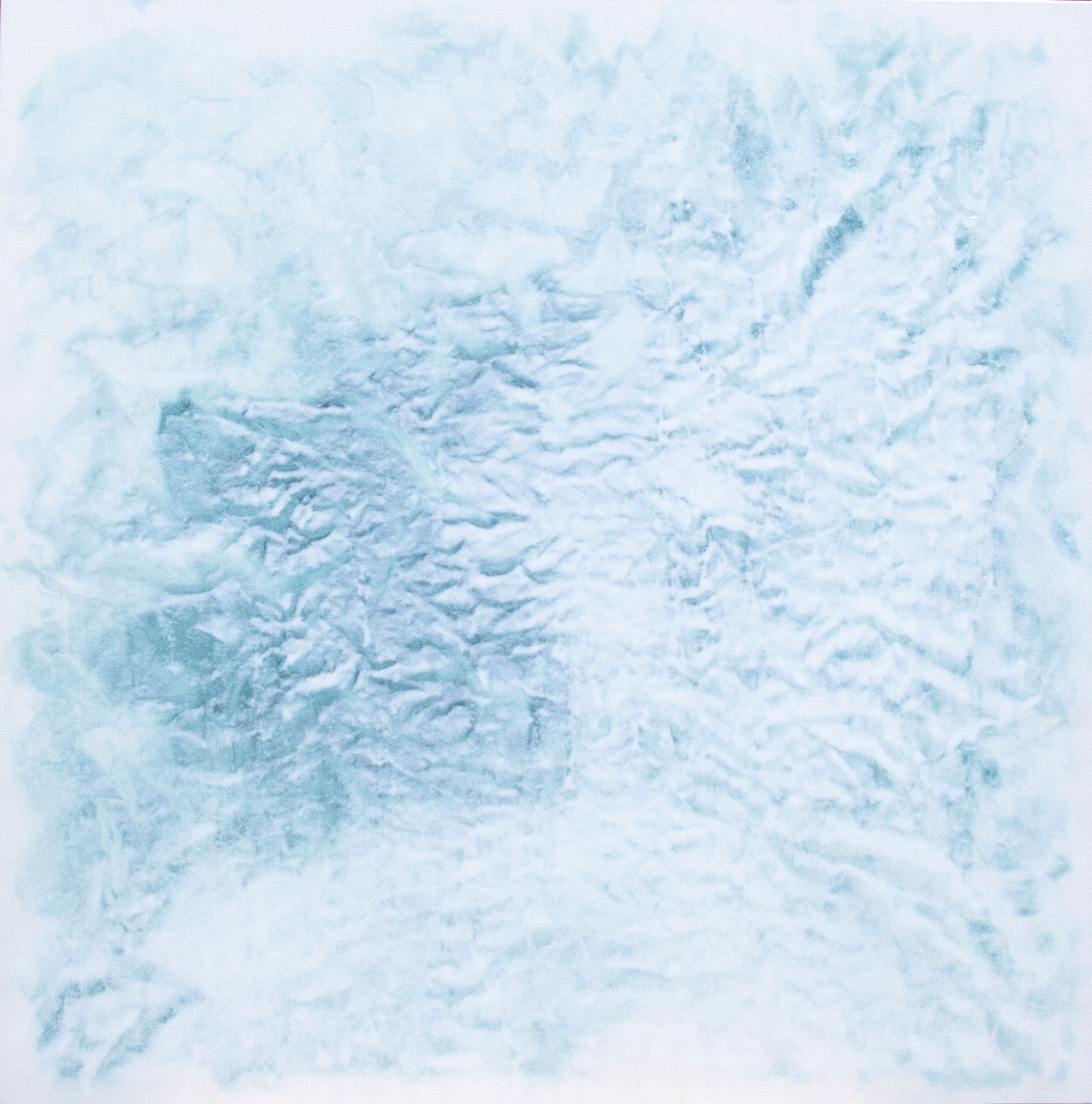 "2017 ""Antarctica"" #1360 pigment, oil, alkyd on canvas (Cobalt Green Xtra Blue-Titanium White) 48 x 48 inches 121.92 x 121.92 cm © Vicky Colombet, all rights reserved."