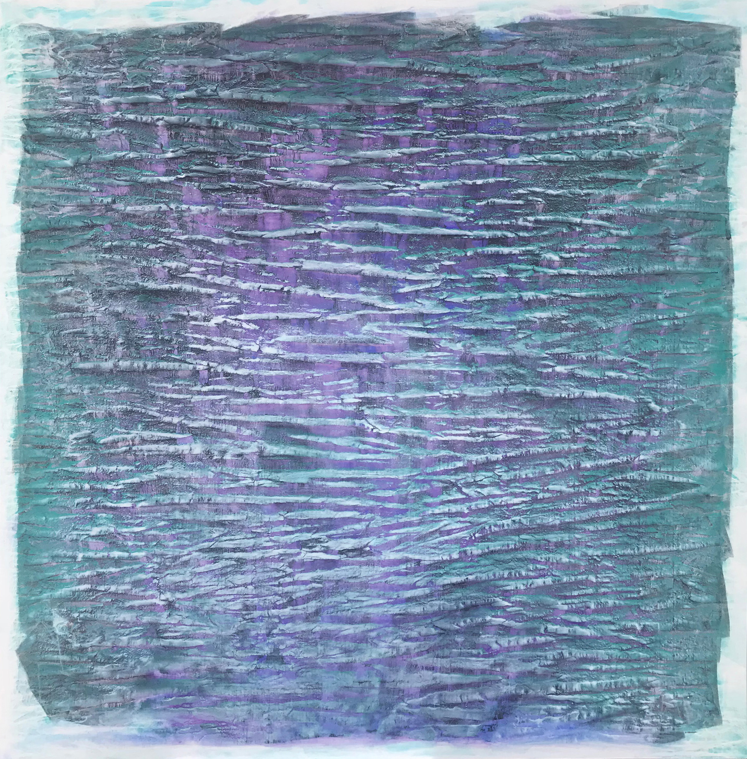 "2017 ""Water and Light"" #1387 pigment, oil paint, alkyd on canvas (Cobalt Violet Brilliant Dark - Cobalt Turquoise Light - Mars Black - Cobalt Green Bluish- R6 - Titanium White) 78"" x 78"" © Vicky Colombet, all rights reserved."