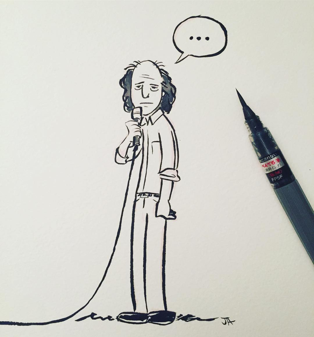 A deadpan hello to Steven Wright for today's #inktober. #comedy #standup #comedian #stevenwright #doodle #deadpan #oneliners #drawing #artistsoninstagram #inktober2017.jpg