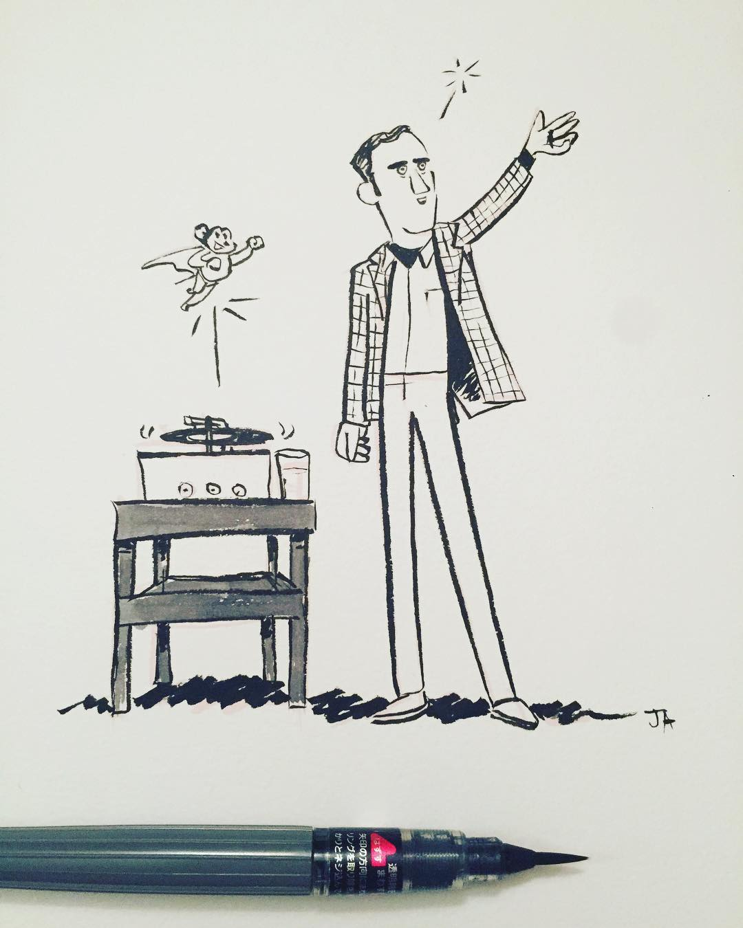 Here he comes to save the day! Andy Kaufman for #inktober.#comedy #standup #comedian #inktober2017 #doodle #drawing #manonthemoon #mightymouse #snl #artistsoninstagram.jpg