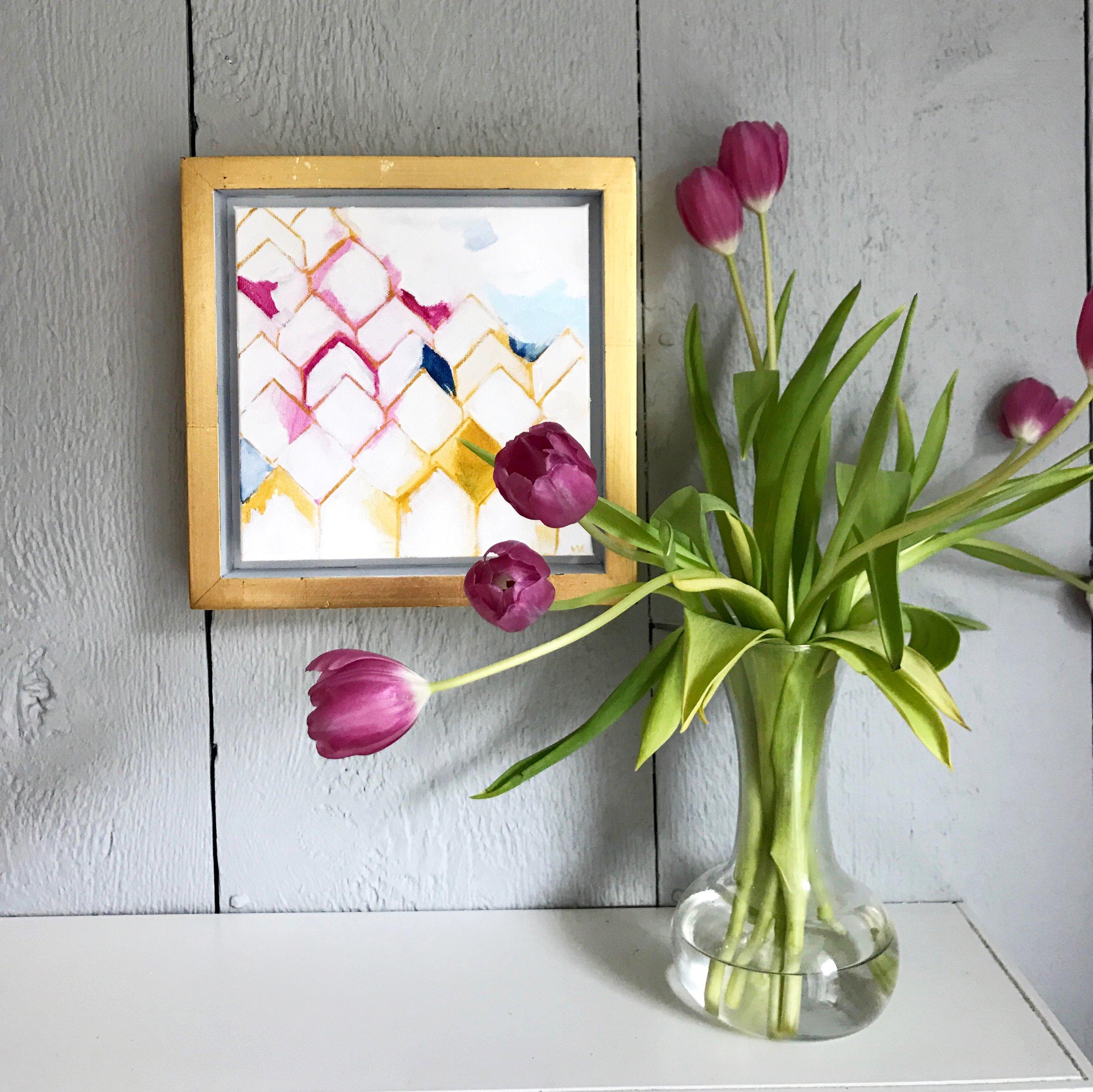 """COAST 8x8"""" acrylic on canvas framed SOLD"""
