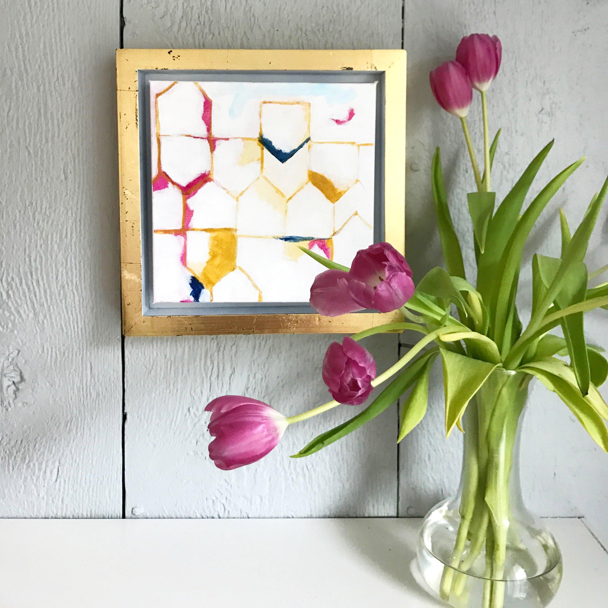 "TOPSY TURVY 8x8"" acrylic on canvas SOLD"