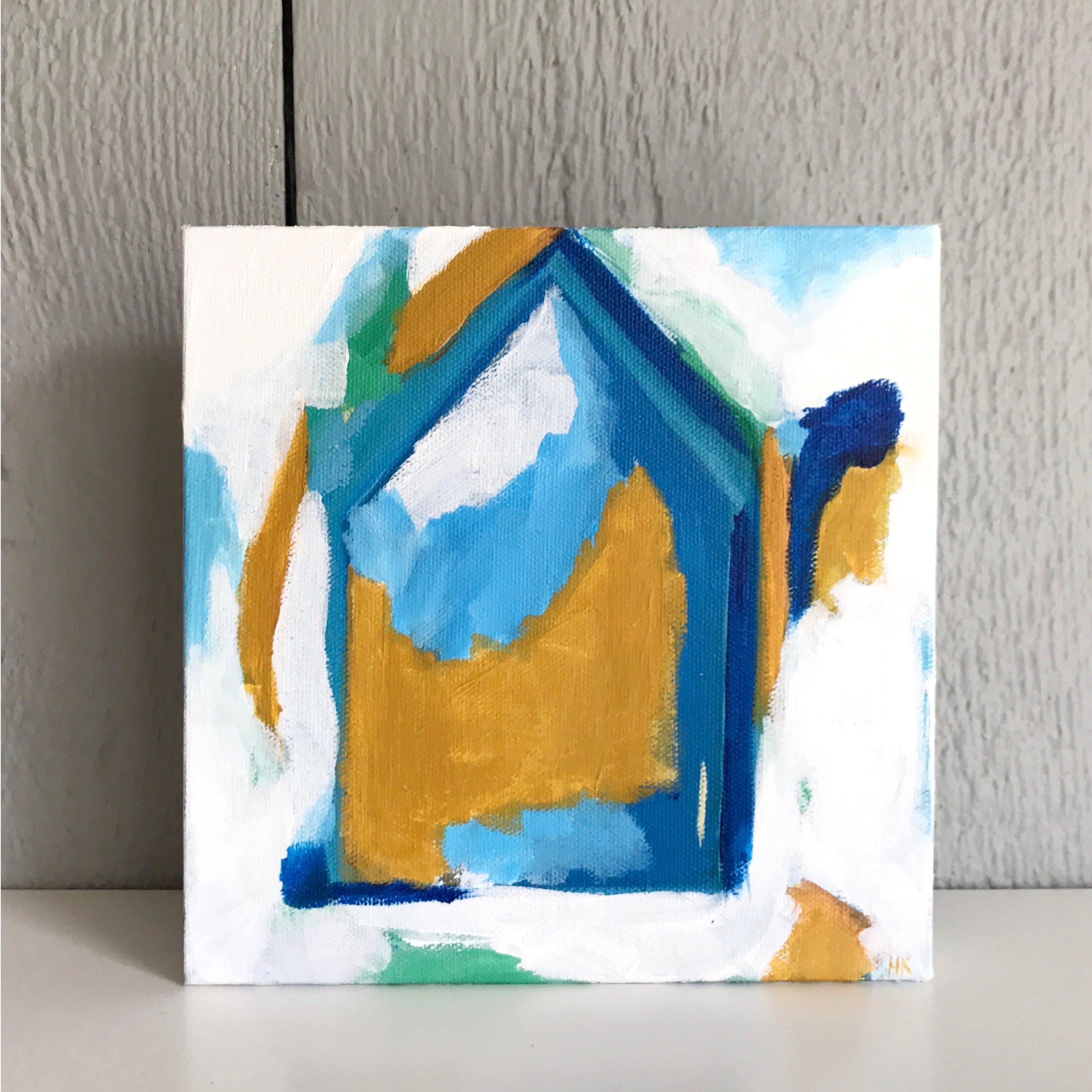 """CLUB HOUSE 8x8"""" acryllic on canvas"""