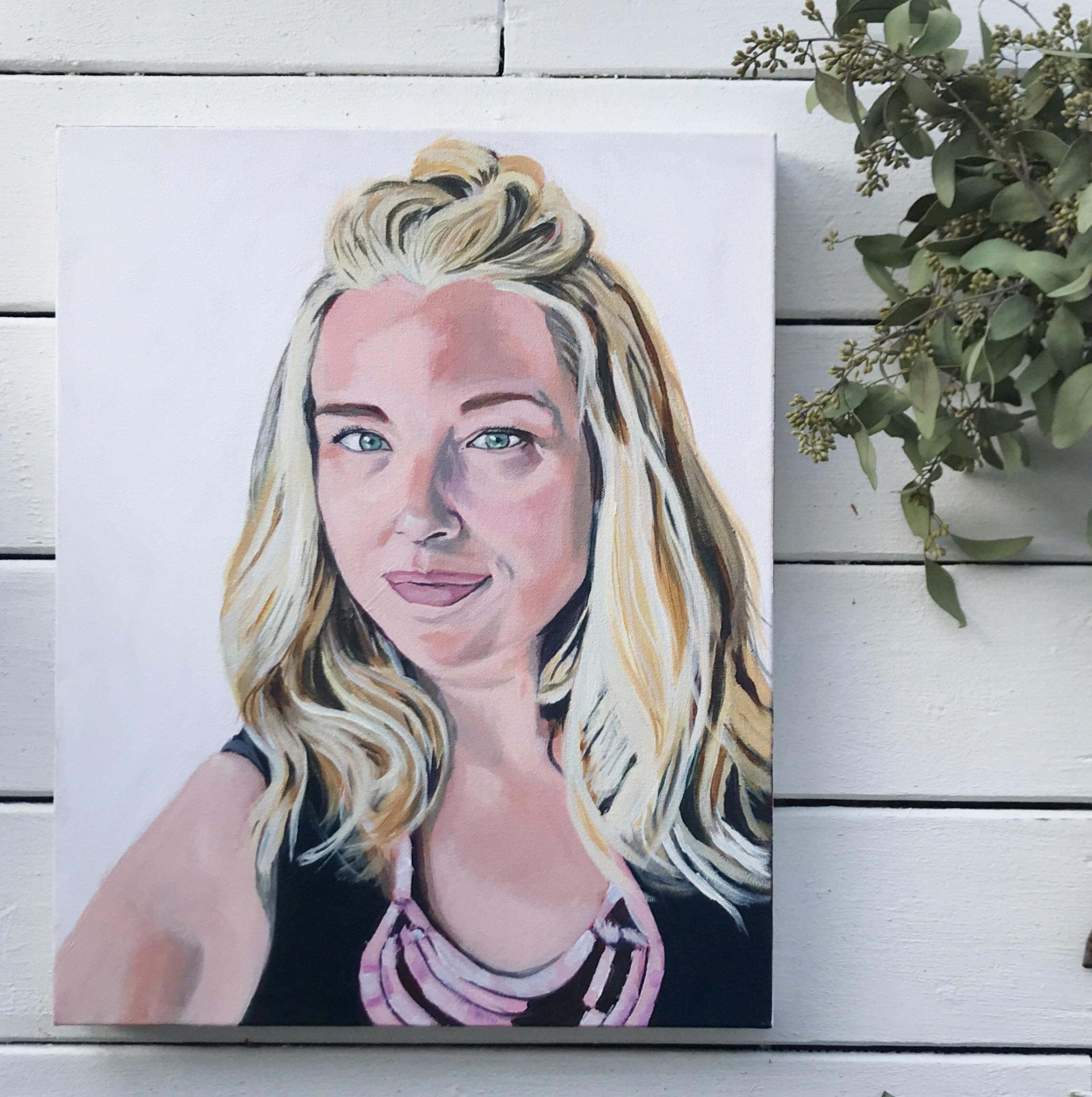 """Heather"" self portrait 16x20"" acrylic on canvas"