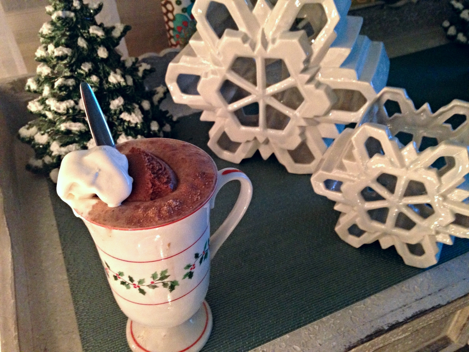 Use a thick mug to prevent temperature change explosions. Who loves my winter ceramic decor?! Thanks MIL! :)