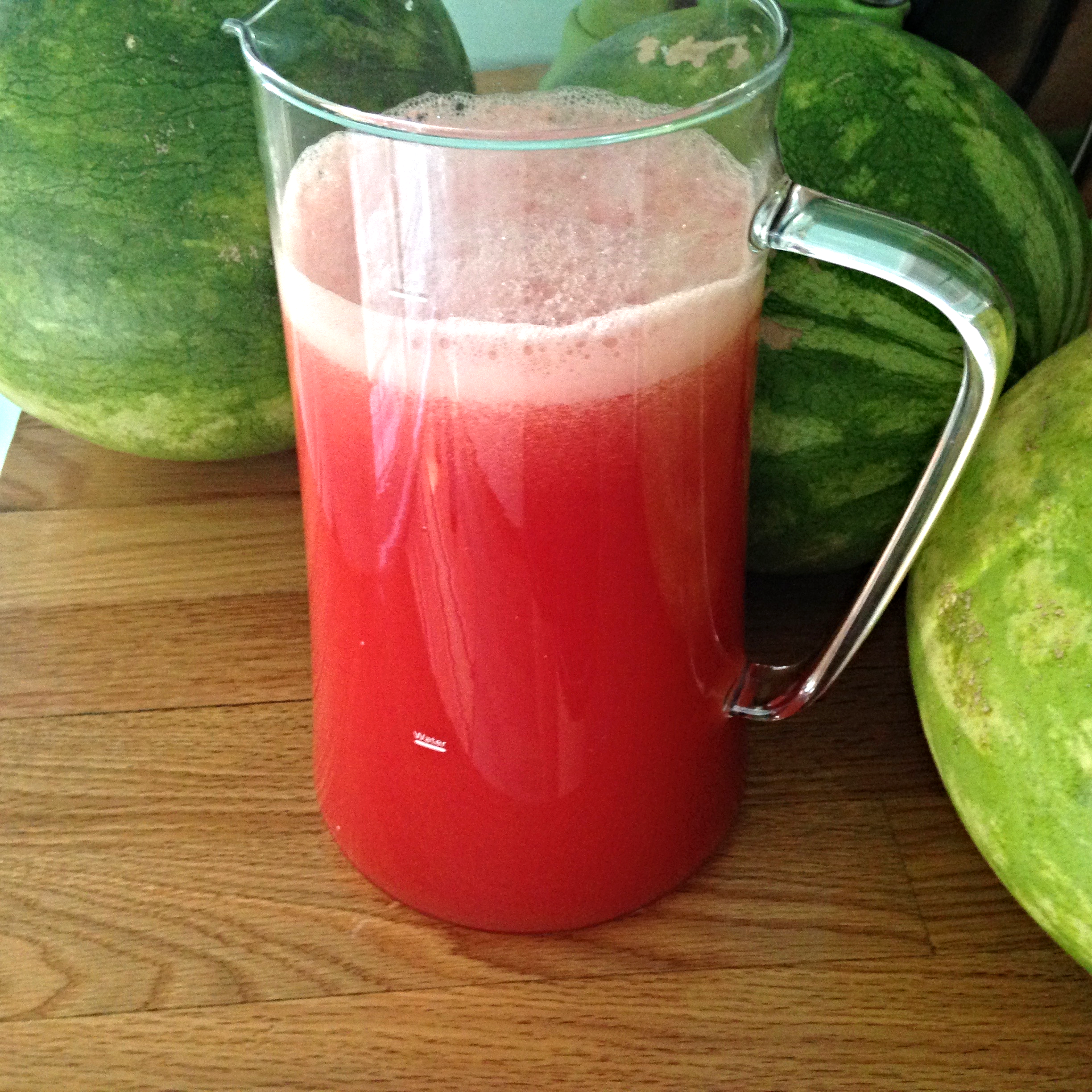 One watermelon = one pitcher.......it would seem.