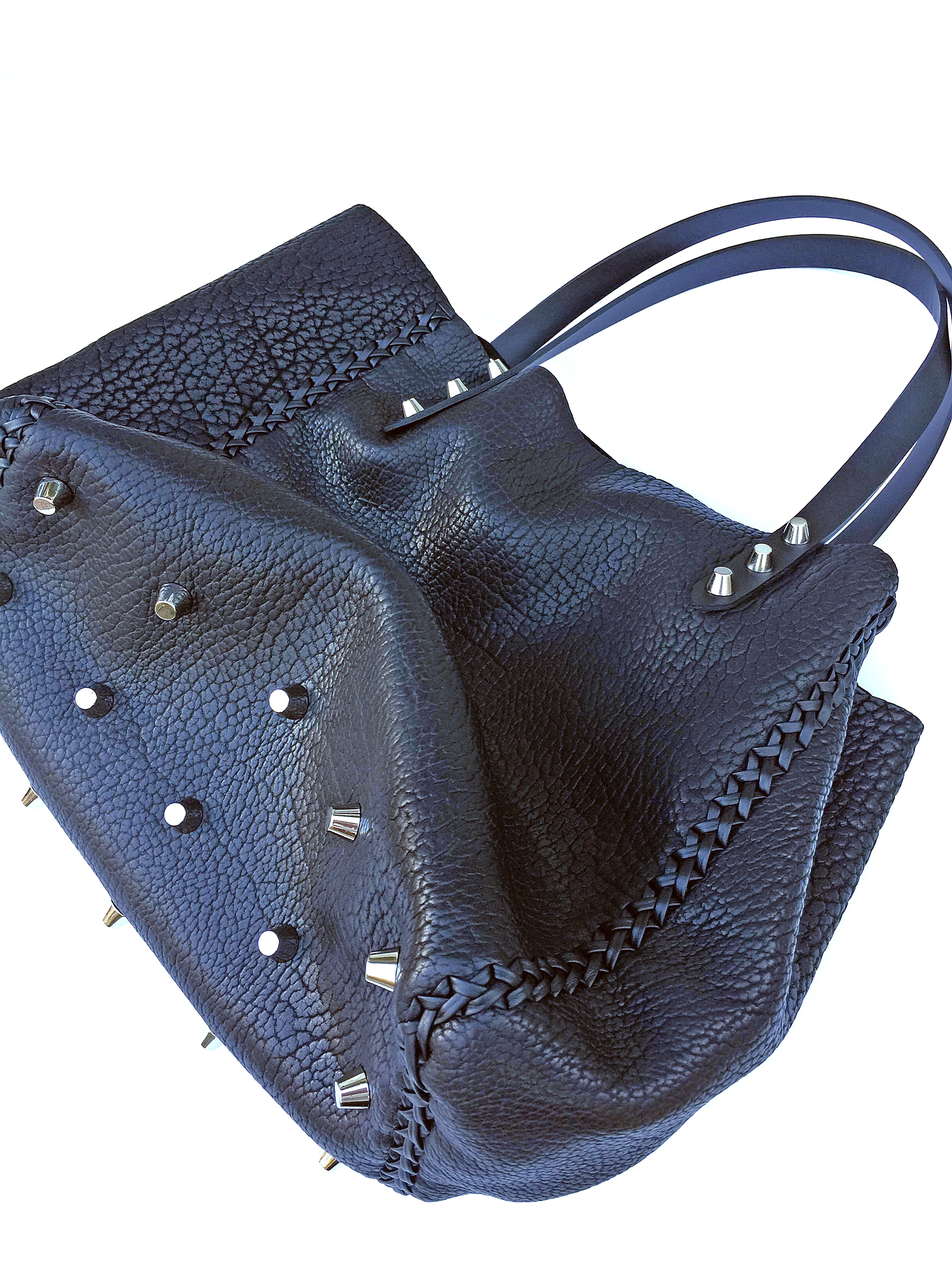 Tote bag with silver hardware