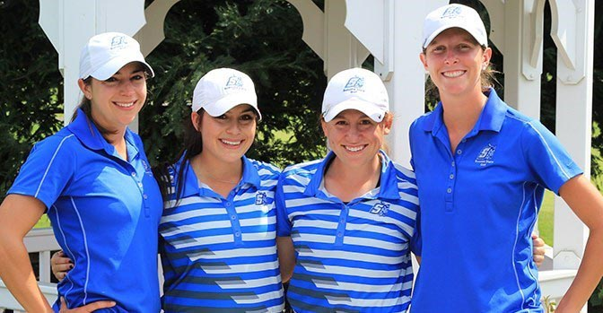 COURTESY // SSU Athletics   Seniors McKayla Kennedy, Kaylee Joaquin, Zoei Zbaraschuk and Nicole Arends at the last tournament of the season.