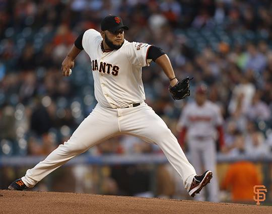 facebook.com   San Francisco Giants' player Yusmeiro Petit throws a pitch against the Arizona Diamondbacks on Tuesday.