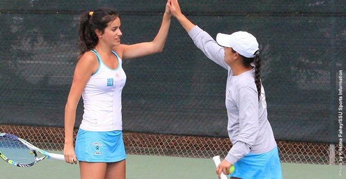 COURTESY // SSU Athletics   Leire Martinez and Lauren Ha won both of their double matches in Friday's win over the Tritons.