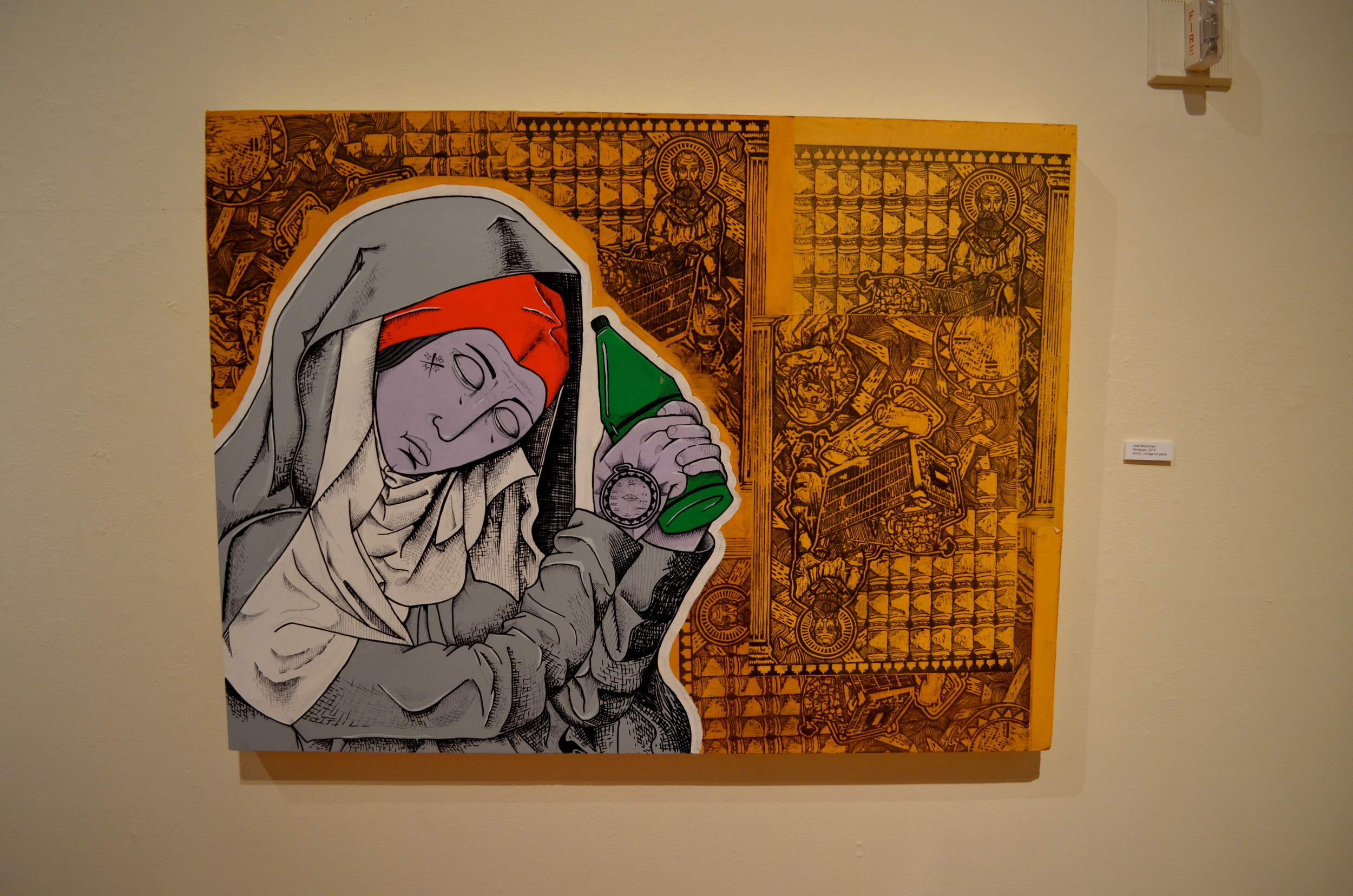 STAR // Cara Fuqua   Artist Jose McLennan incorporates religious imagery in his works, focusing on nuns and priests in the foregrounds, and chaos in the backgrounds.