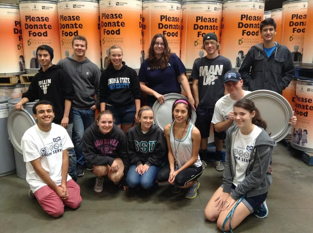 COURTESY // InterVarsity   InterVarsity was represented at Sonoma Serves on Saturday. The organization prepared cans for an upcoming canned food drive that is expected to raise an estimate 33,000 pounds of food.