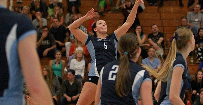 COURTESY // SSU Athletics   Caylie Seitz led the team in kills, 19 total, against the San Diego Tritons.