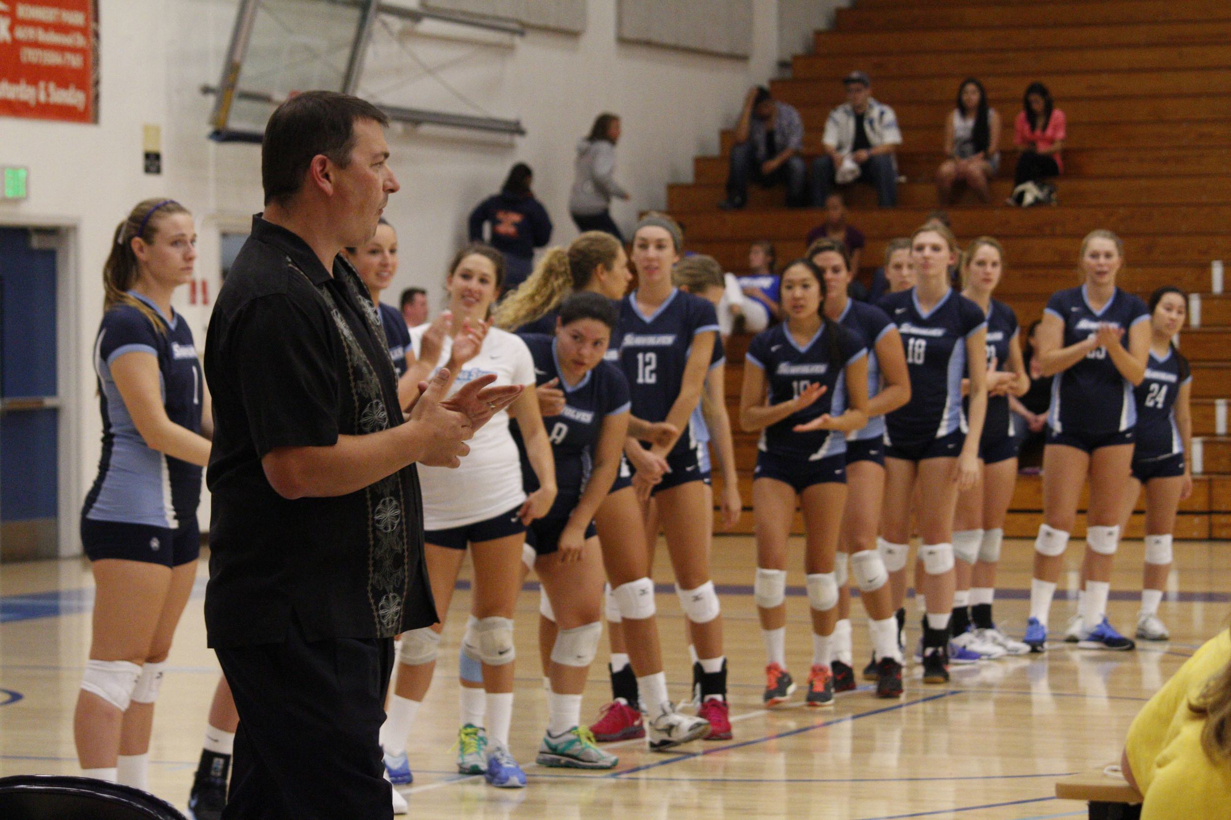 STAR // Spencer Vaishville    Top and bottom, Friday's win marked Coach Grassl's 200th win in his 12-year career as a volleyball coach at SSU.