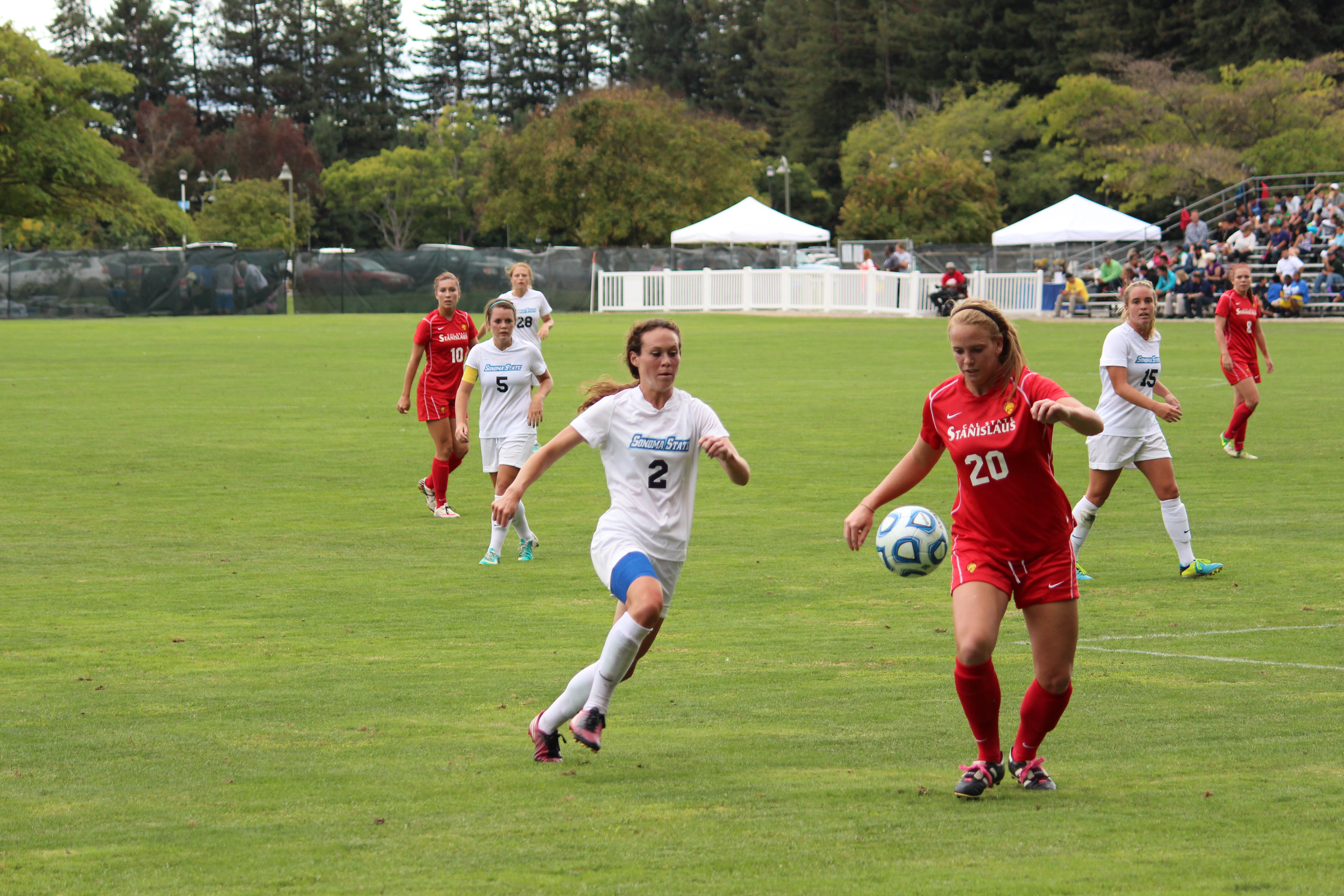 STAR // Spencer Vaishville    Cara Curtin battles for possession of the ball. Next week the Seawolves will head down to CSU Stanislaus for the CCAA Women's Soccer Championship Tournament against CSU San Bernardino.