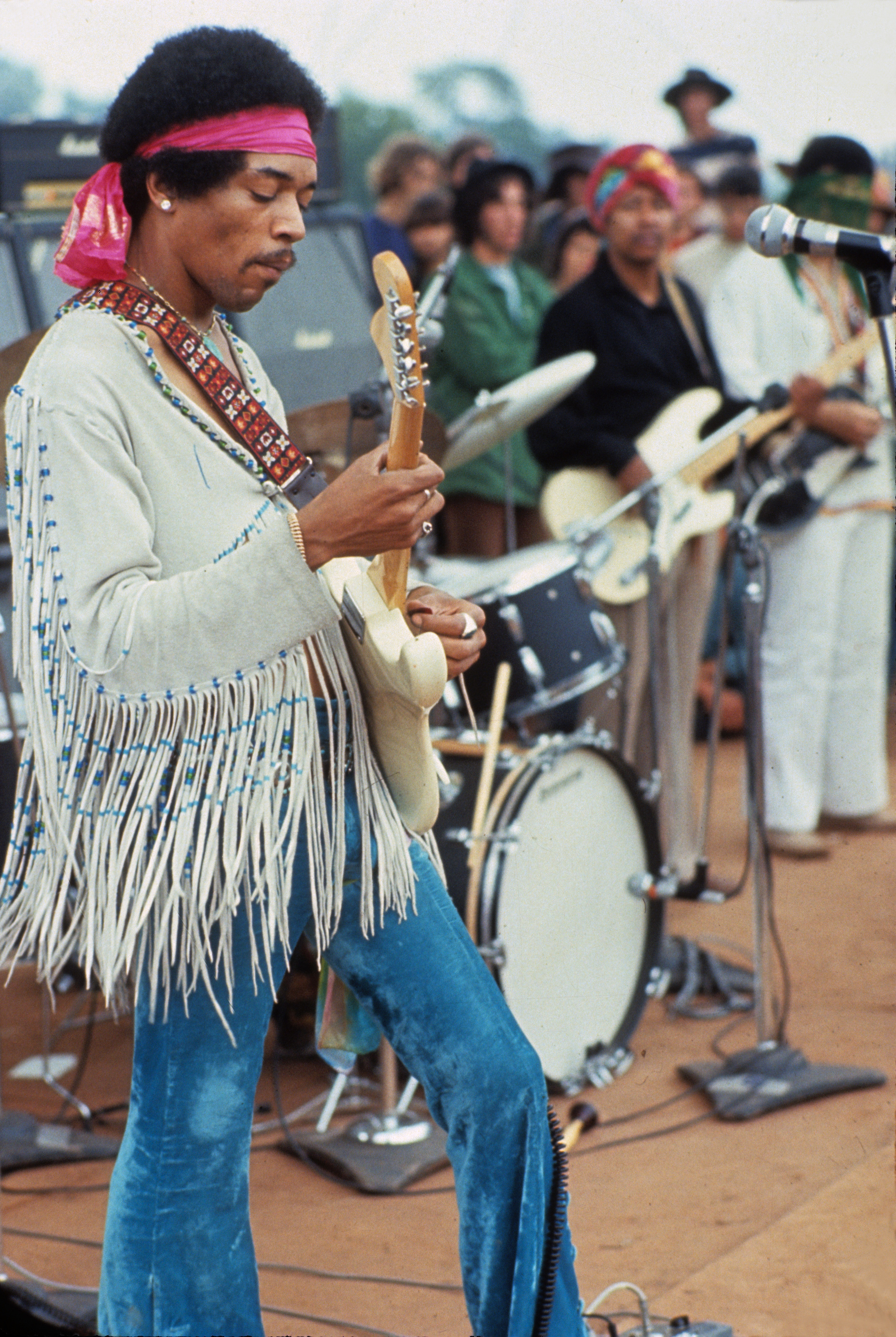 flickr.com    Jimi Hendrix performs his iconic rendition of the National Anthem at Woodstock in 1969.