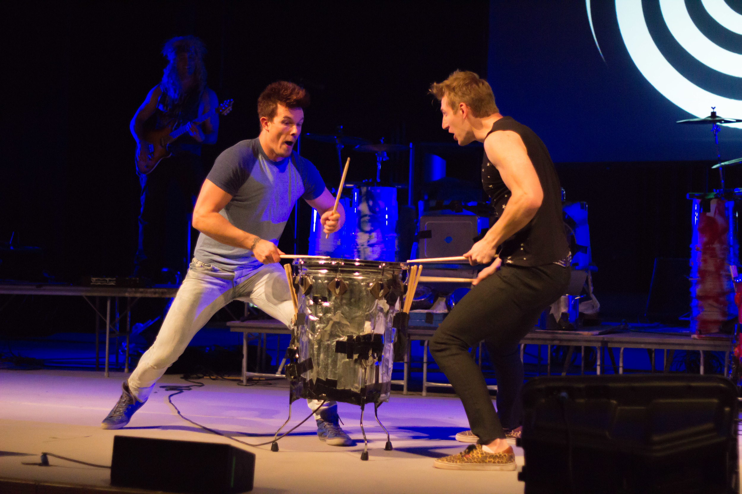 STAR // Brennan Chin   Recycled Percussion's performance featured trash can drumming and acrobatics.