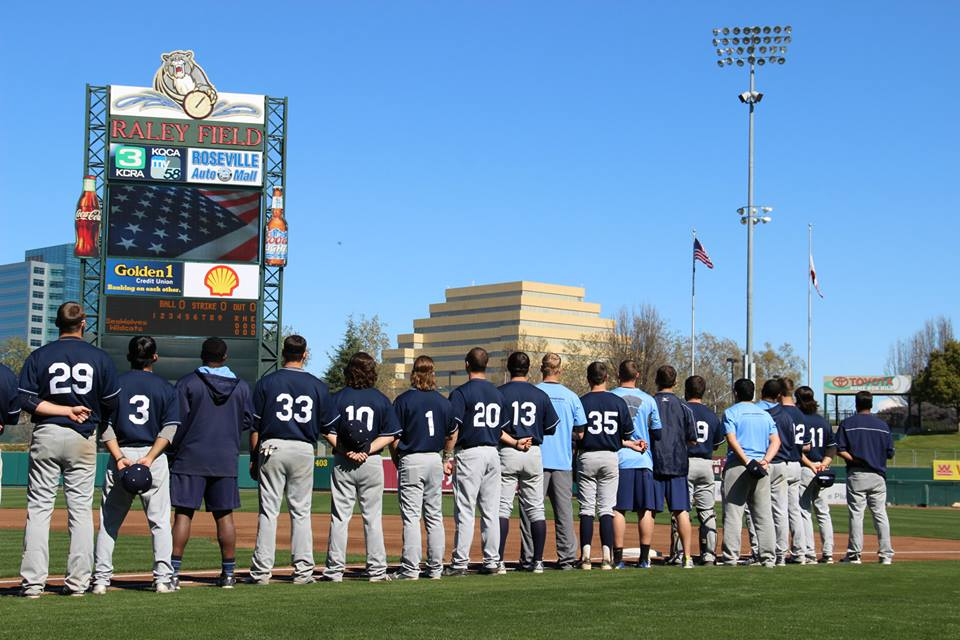 facebook.com   The baseball team lines up for the National Anthem at Raley Field in Sacramento. The team enters the dugout before the start of the game.
