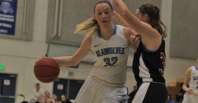 sonomaseawolves.com   Junior center Hannah Sourek drives to the basket. Sourek had 16 points against first-place Dominguez Hills Toros.