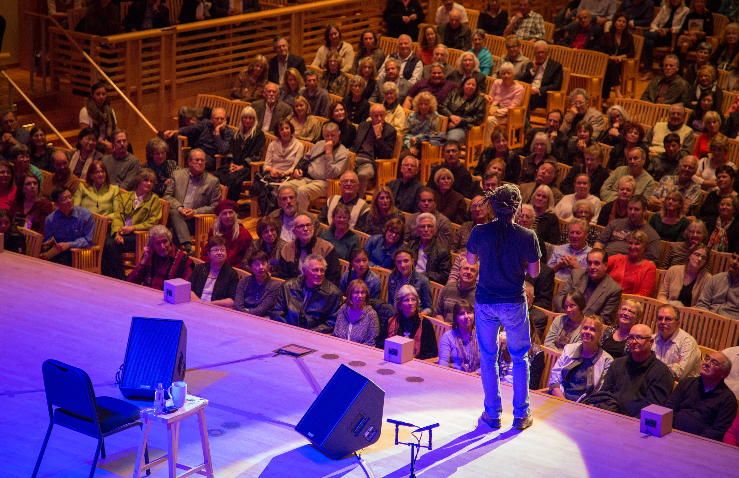 """COURTESY // Nikki Anderson   A sold-out crowd at the Green Music Center sang along with Bobby McFerrin for numerous songs. McFerrin performed a verse from his classic hit, """"Don't Worry, Be Happy,"""" a song that he hasn't performed since 1988."""