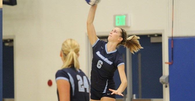 Sophomore Courtney Seda goes for the kill.