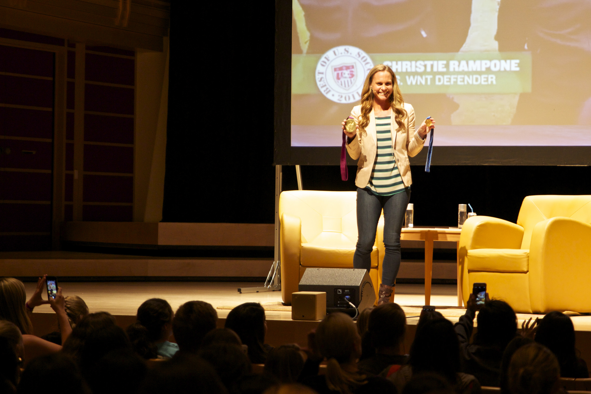 STAR// Nicole Detmers   Gold medalist soccer player Christie Rampone gave a lecture to students and the surrounding community to help motivate young athletes.