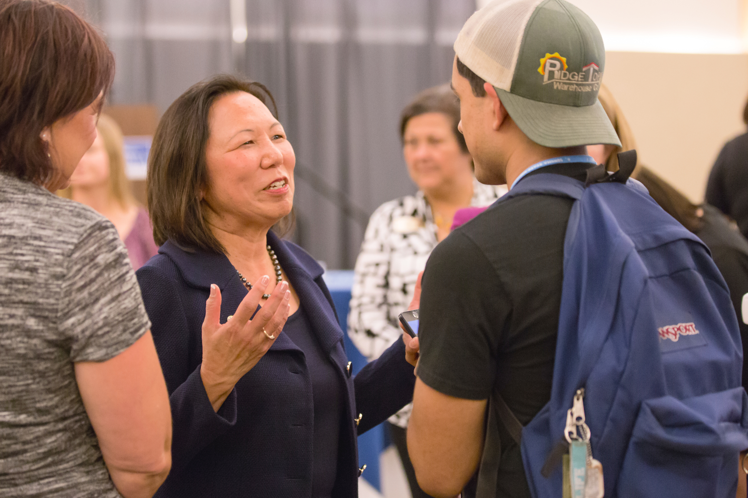 Sonoma State University's President - Elect Judy K. Sakaki met with students and faculty during Friday's presidential reception in the Student Center Ballroom.