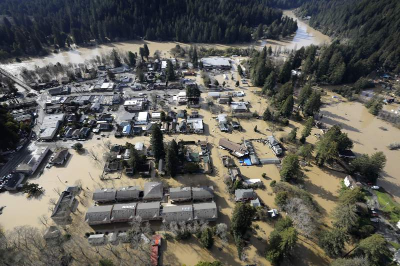 Guerneville, pictured above, experienced the worst of the damage from the rising Russian River water level.