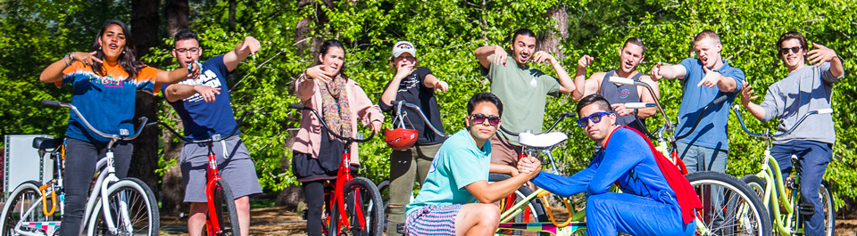 COURTESY // Sonoma State University   Sonoma State students show off some of the bikes available in the bike Rental program.