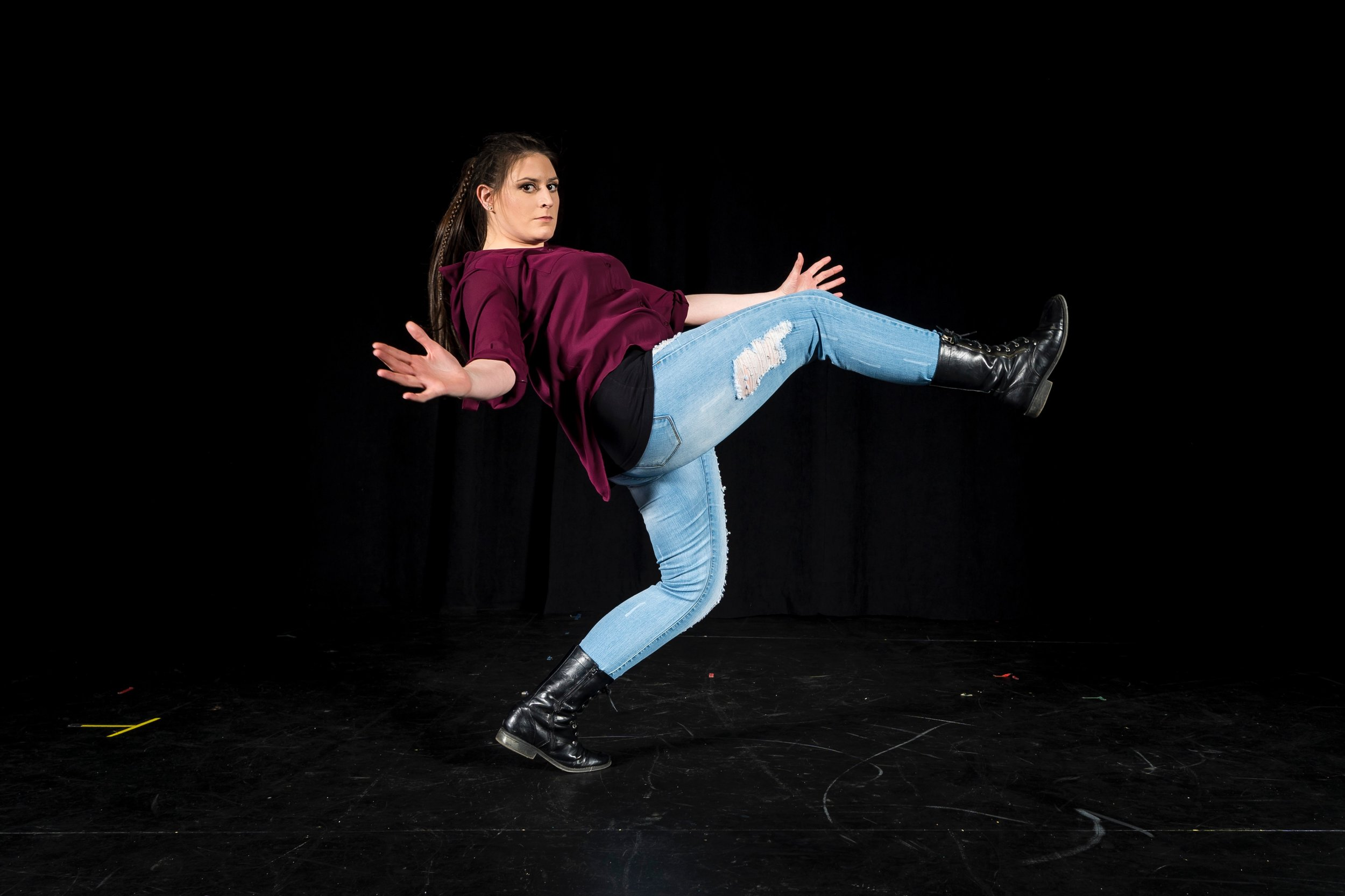 Senior Dance Major Alexandra Giovanetti dancing along in preparation for Spring Dance 2019. COURTESY // James Wirth
