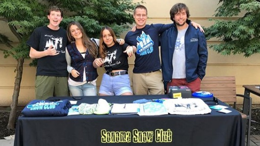 COURTESY // Sonoma State Snow Club   Members of Sonoma State's Snow Club table outside the Student Center in 2017.