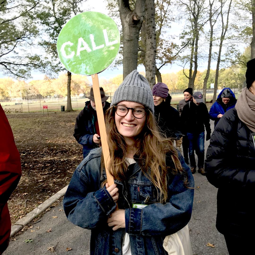 Fall 2017 Intern Erin O'Flynn helps guide participants at a WALK in Van Cortlandt Park.