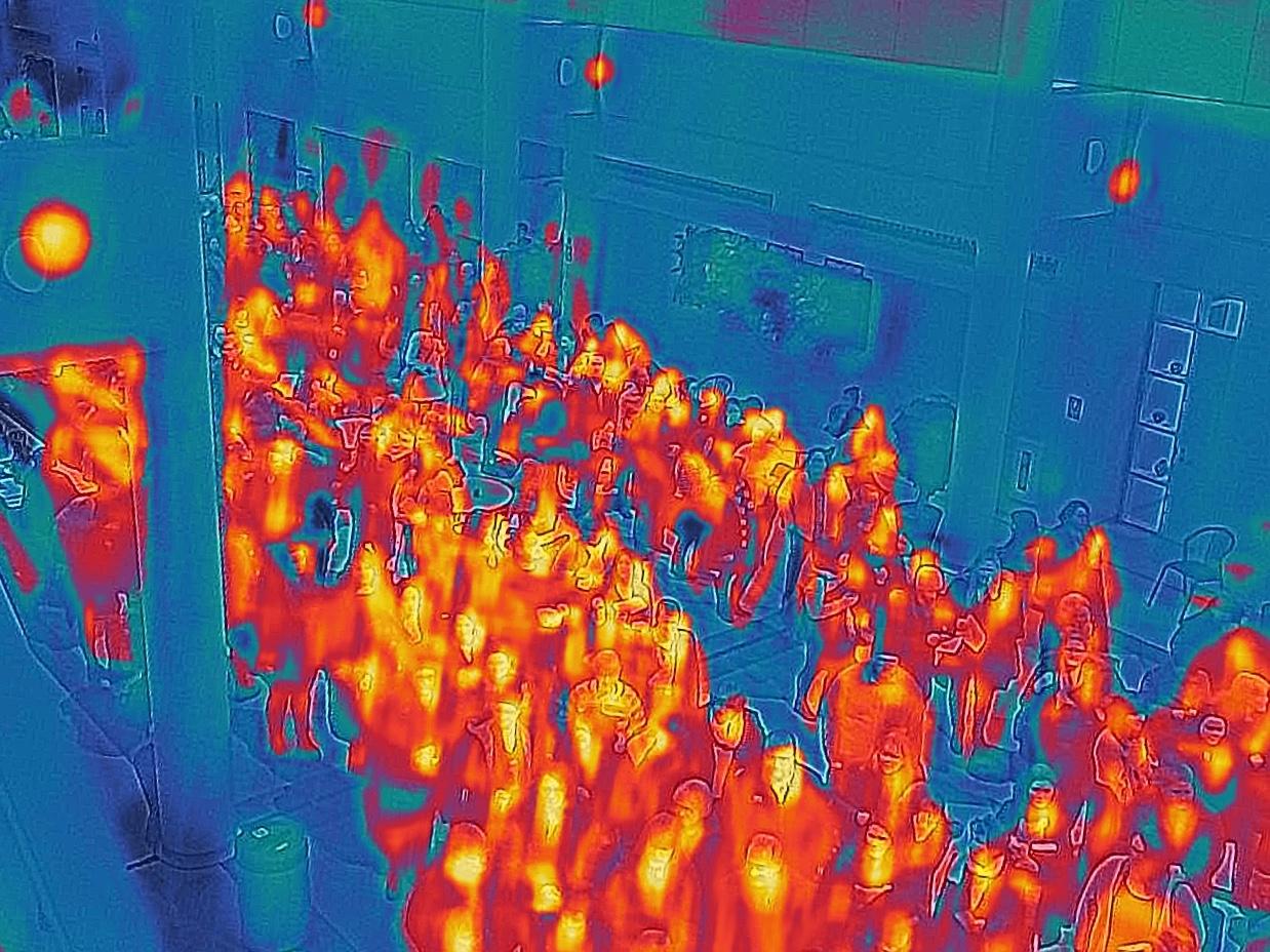 A crowded hall, Heat Mapped