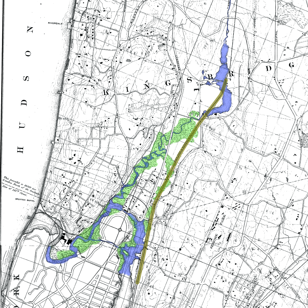 A historical map of the Bronx neighborhood surrounding Tibbetts Brook, overlaid. The blue area is the original path of TIbbetts Brook flowing from Van Cortlandt Lake into the Harlem River. The green areas are wetlands areas that would fill during heavy rains. The brown line is the disused CSX rail like, which the Coalition for Daylighting TIbbetts Brook proposes as a location for the new stream bed.