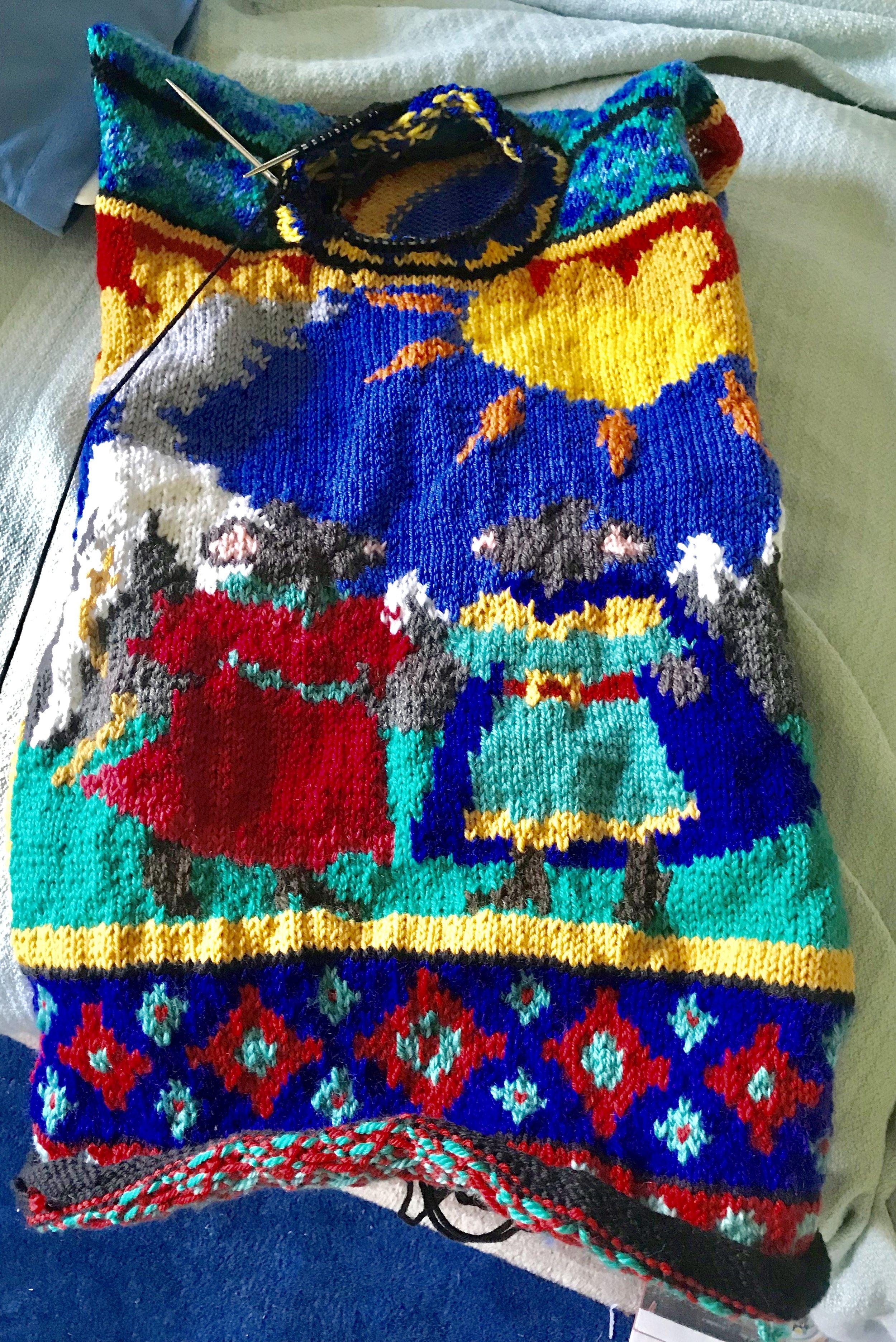 Redwall sweater in progress.