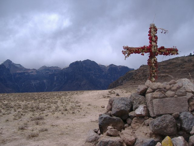Making prayers on the trek.