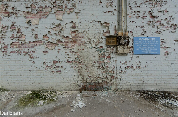 Awesome peeling paint in this abandoned factory. Accompanied with the sign I feel it makes a nice simple composition.