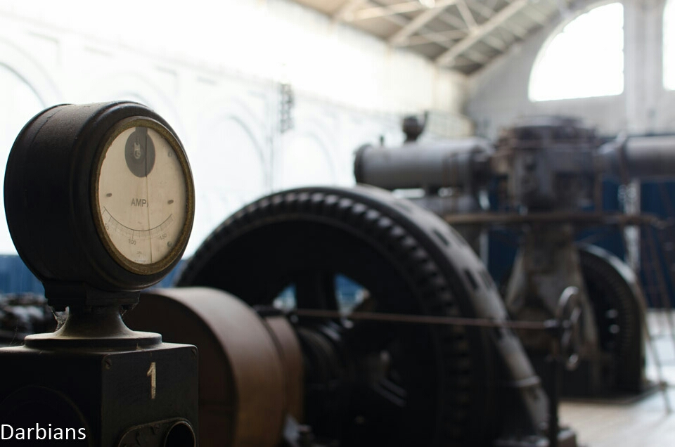 A small dialwhich is part of a stunning vintage turbine found in a restored power plant in Belgium.