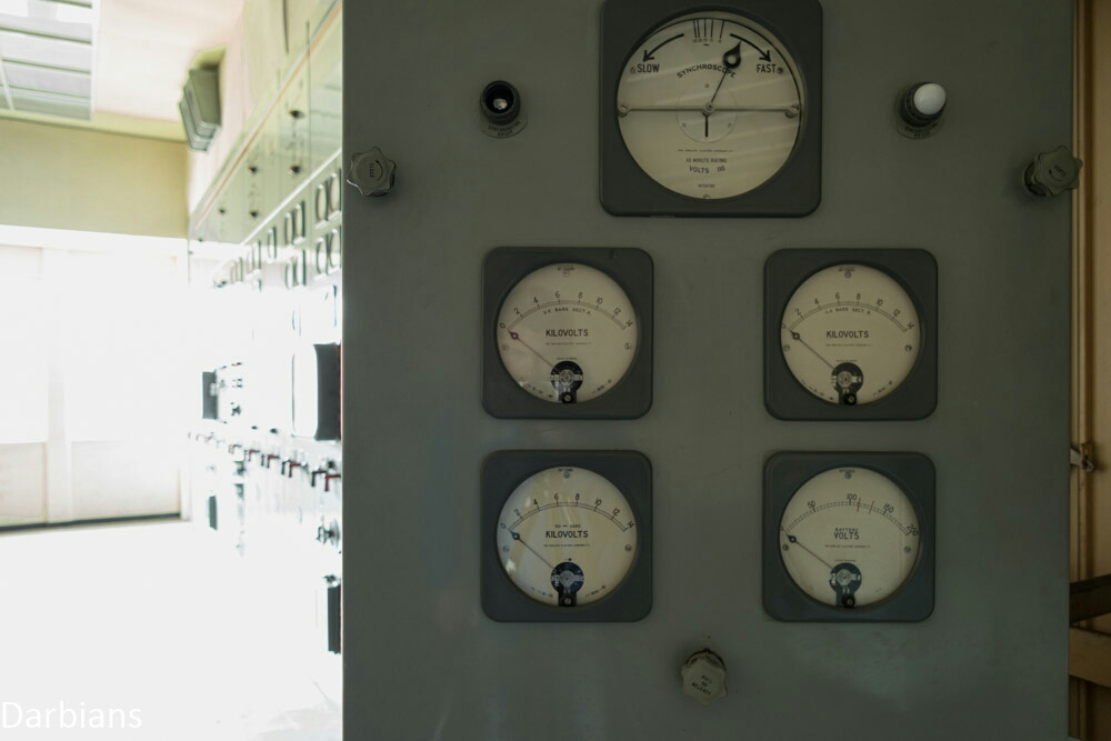 The moveable dials to a power station of an abandoned wind tunnel site in the UK.