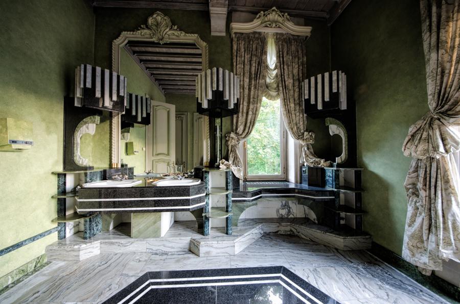 The exquisite ladies bathroom in an abandoned upper class restaurant in Belgium.