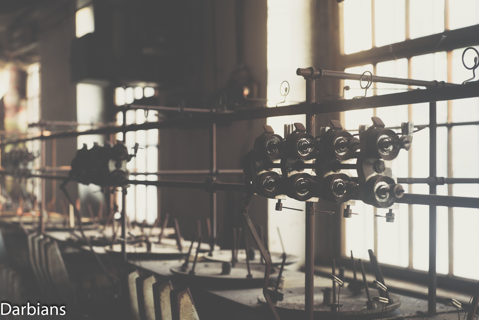 Close up of spinning machines.