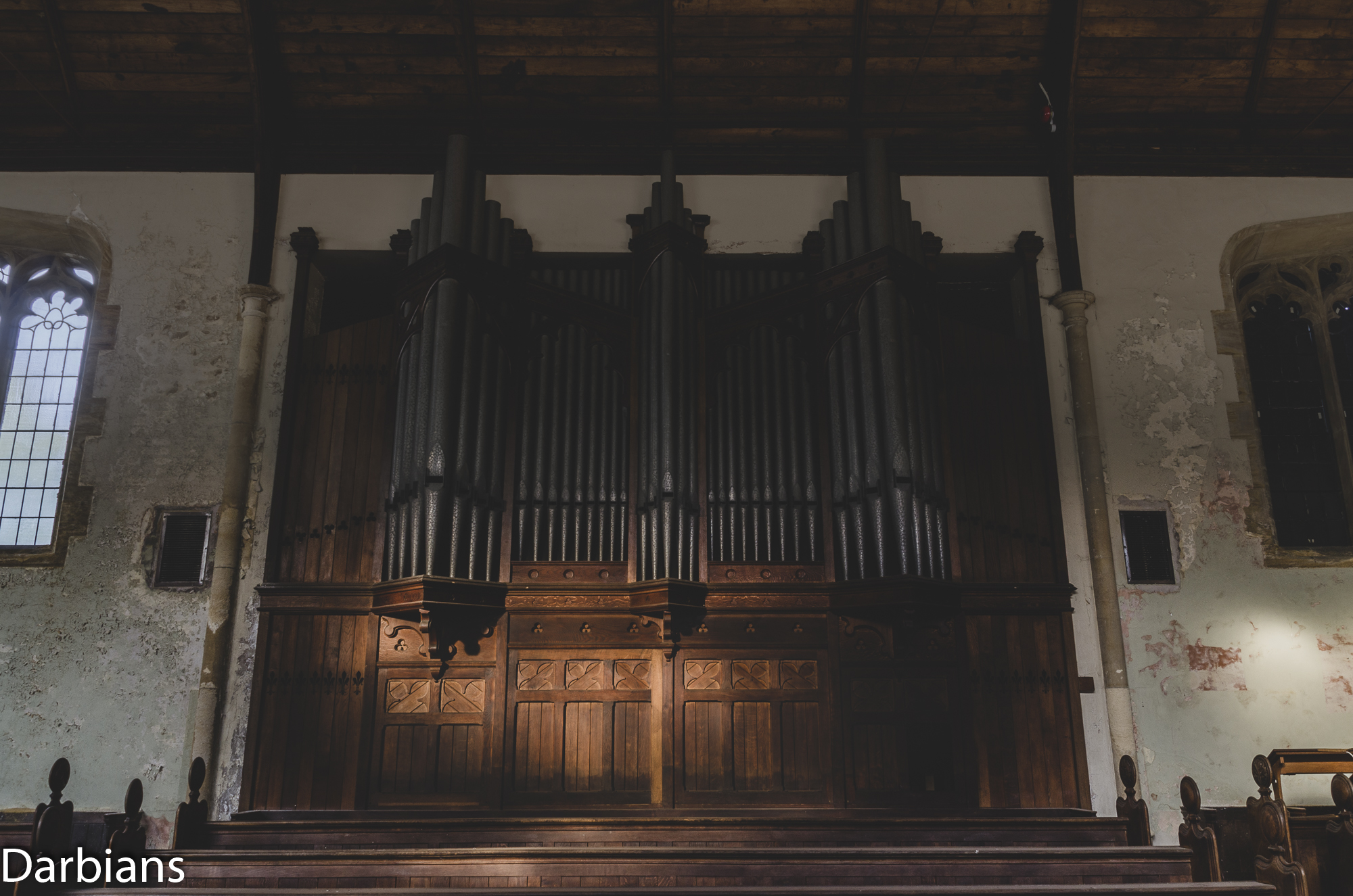 The large organ pipes in the chapel.