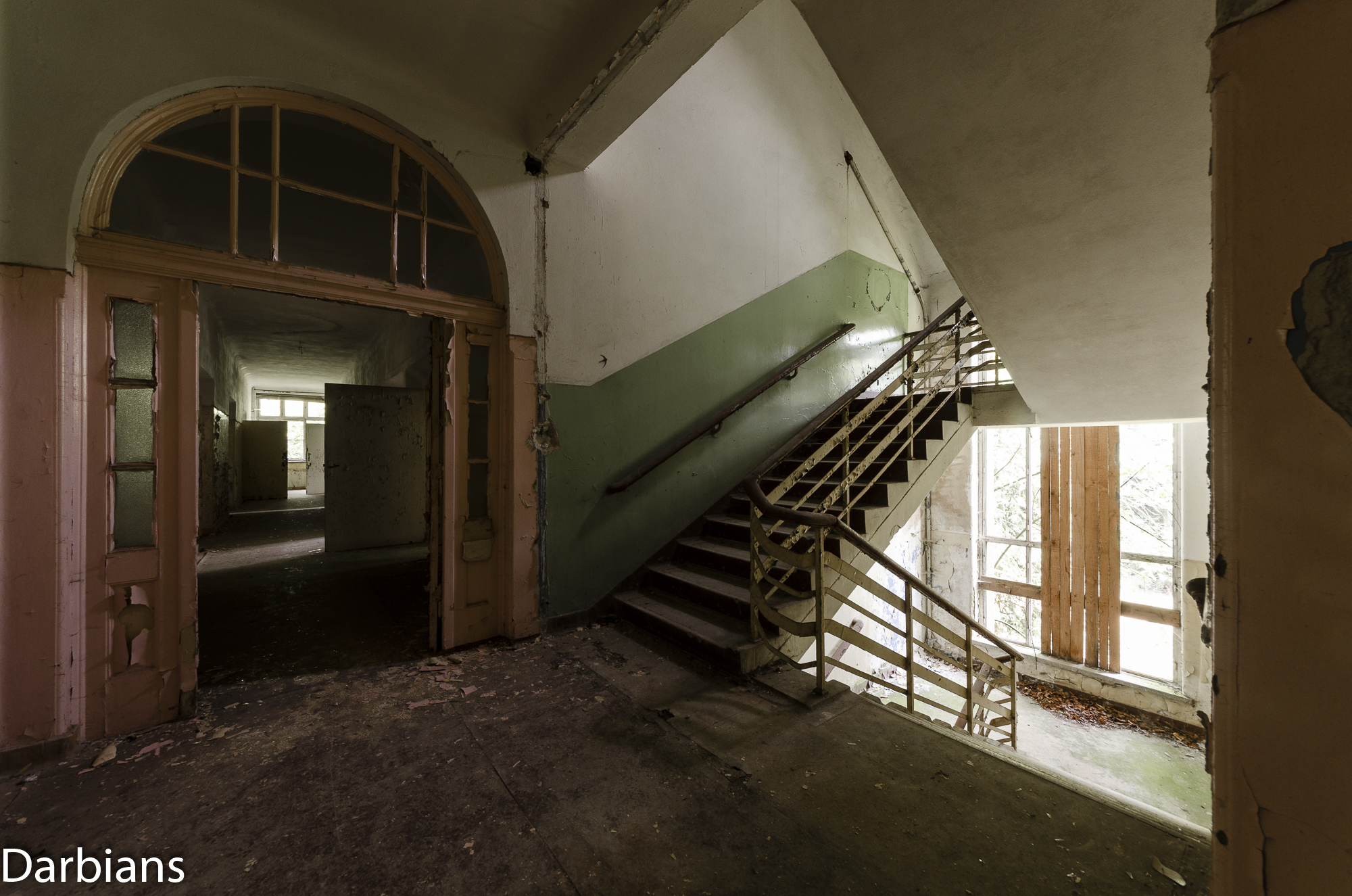 Stairwell leading to a corridor.