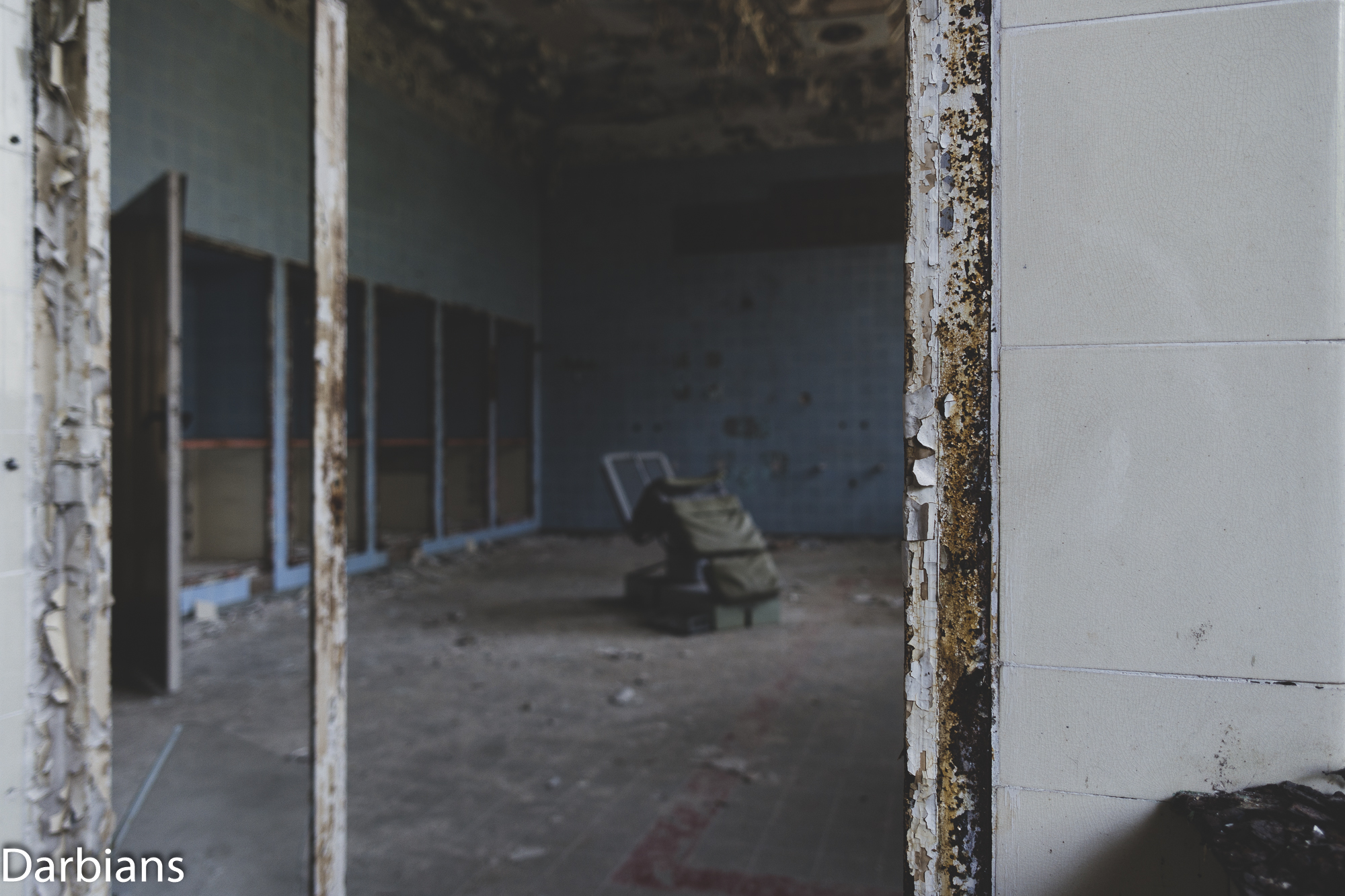 Close up of door frame with operating chair in the background.