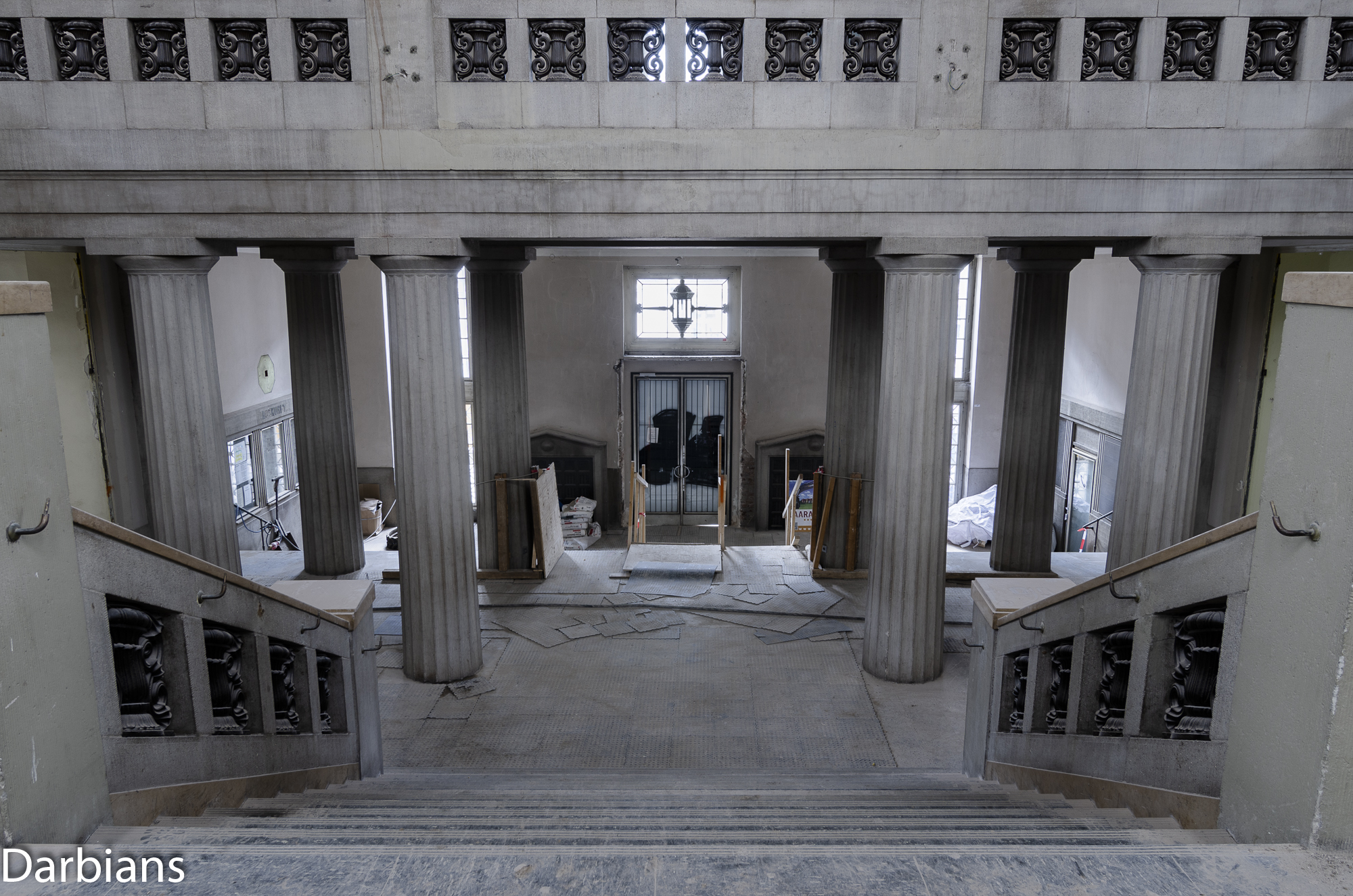 Looking down to the entrance from the middle of the main staircase.
