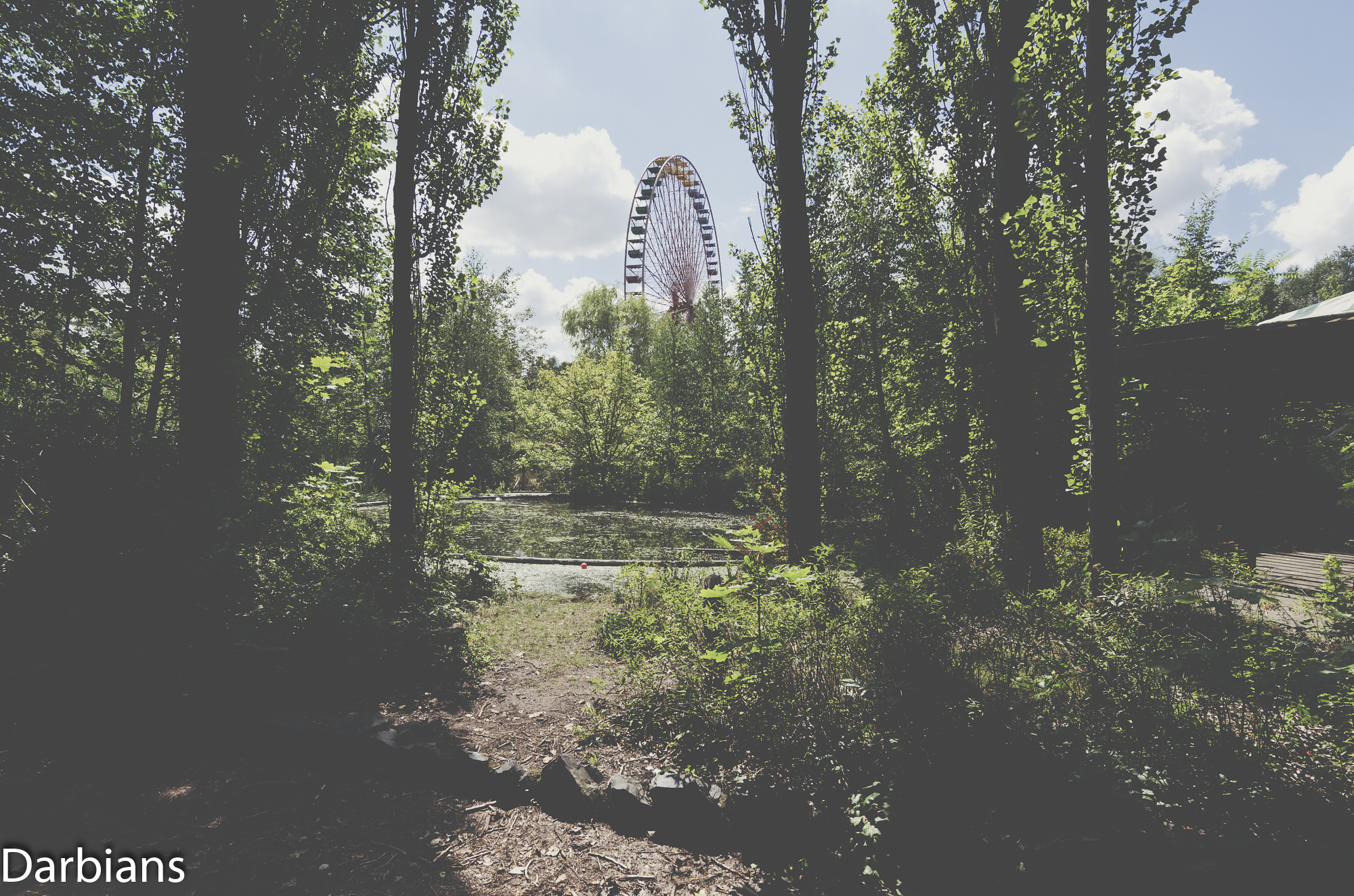 The big wheel from the surrounding woods.