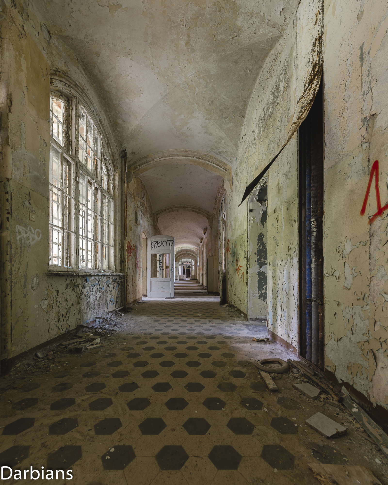 Beelitz Female Pavilions: Long Corridor.