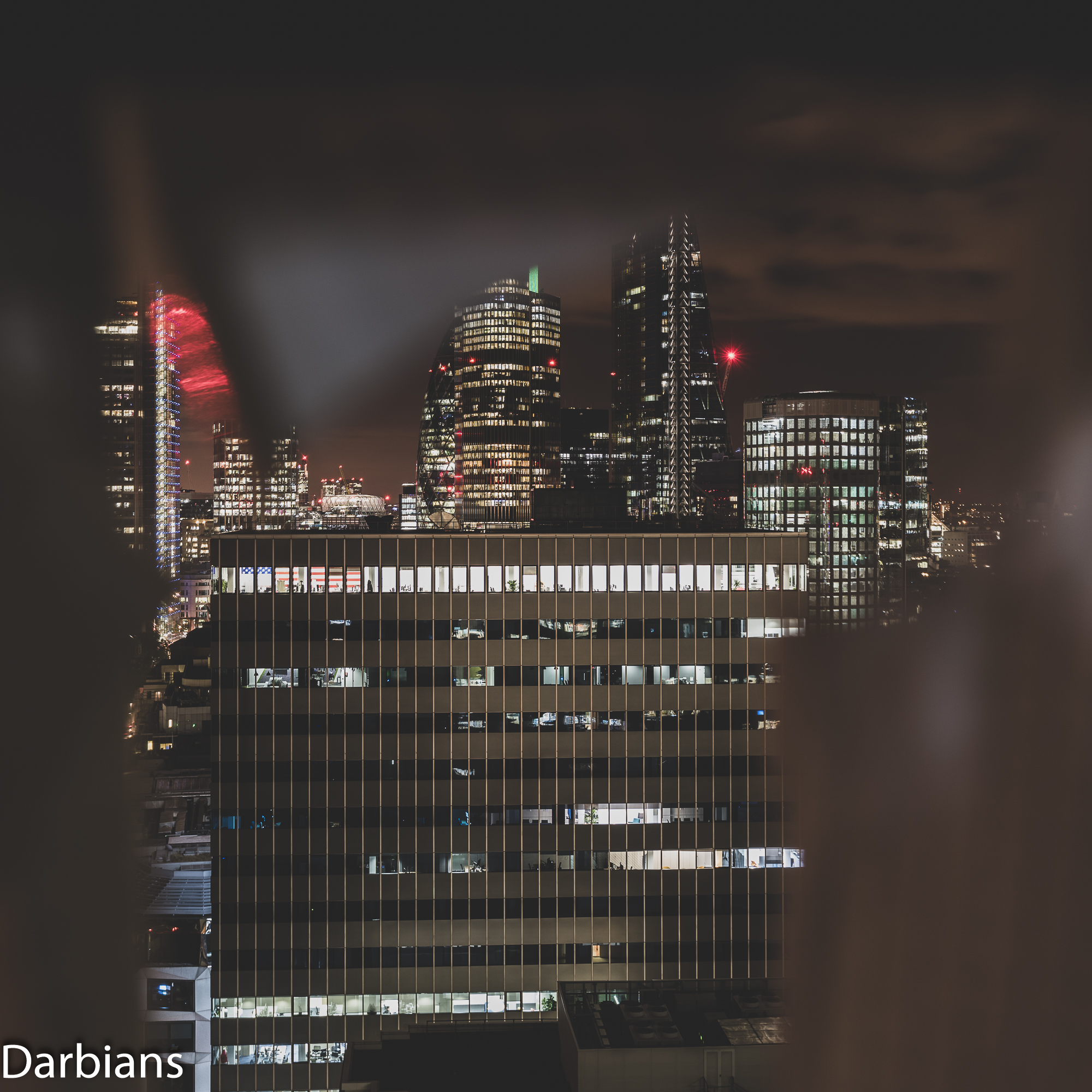 In the frame we have…110 Bishopsgate, The Gherkin peaking out behind Tower 42, The Cheesegrater and 1 Angel Court with City Tower in the foreground.